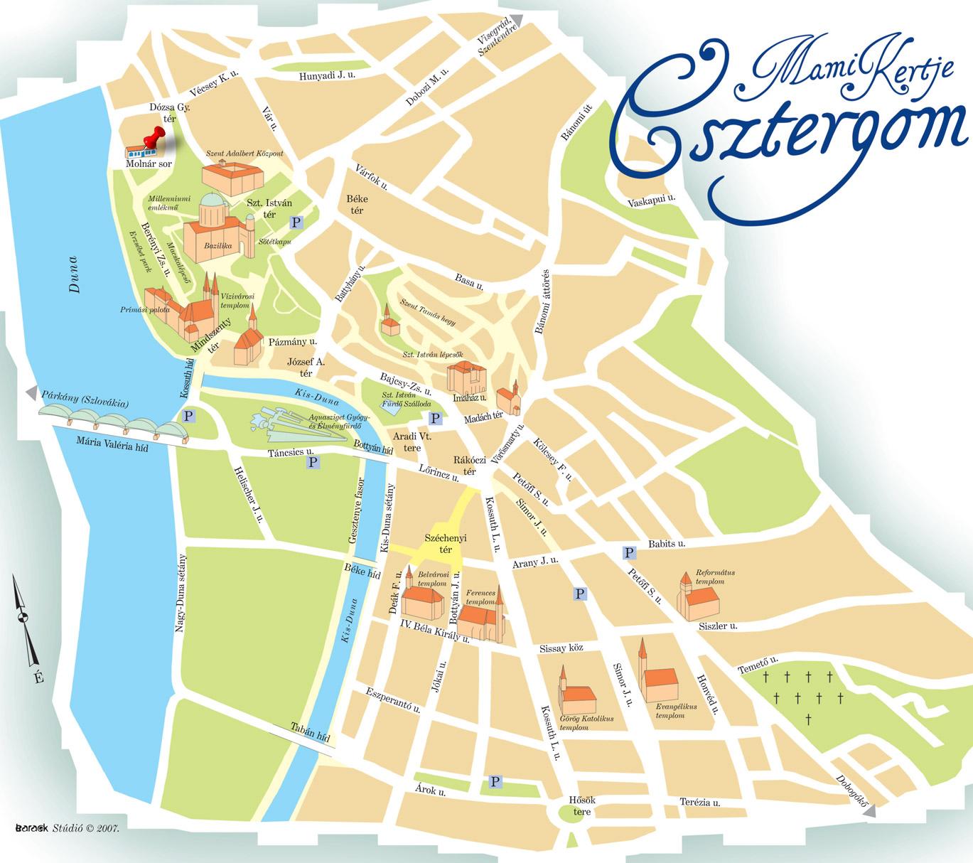esztergom látnivalók térkép Mami Kertje Apartman Esztergom, bababarát apartman, nyugodt  esztergom látnivalók térkép